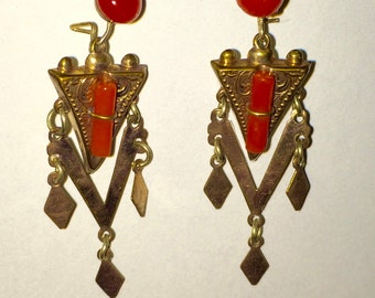 Victorian gold filed and coral earrings