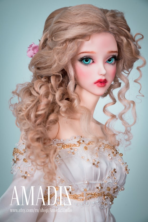 Persephone Natural Leicester Sheep Wig For Bjd Sd Msd Tiny