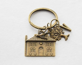 House Keychain, New Home Gift, Housewarming Gift, New House Keychain, First House Keyring, Home Key Chain, Neighbour Gift, New House Gift
