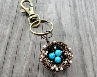 1,2,3,4,5,6,7,8,9,10,11,12,nest, key,chain,Birds nest key chain ,beaded key chain, turquoise birds nest, turquoise keychain, beaded key ring