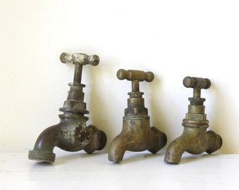 Vintage brass taps/ brass water faucet/ architectural salvage/ industrial garden feature/ fountain tap/ PRICE per tap