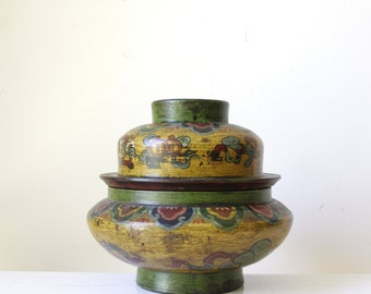 Exotic vintage wooden bowl with lid/ coloured decorative bowl/ large storage bowl with lid/ eclectic home decor