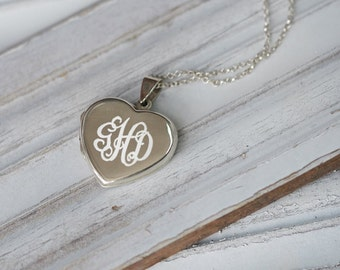 Engraved Monogram Locket in Sterling Silver, Initial Necklace, Monogram Jewelry, Personalized Monogram