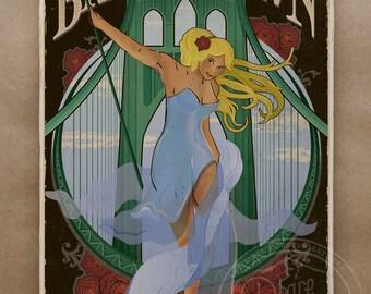 Bridgetown - Portland Wood Print - Original Vintage Style Artwork - Wall Art Gift Travel Poster Bridge Blonde Pinup Portlandia Art Nouveau