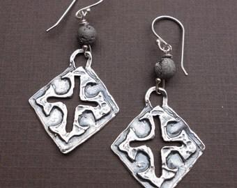Sterling Silver Cut-out Cross Earrings