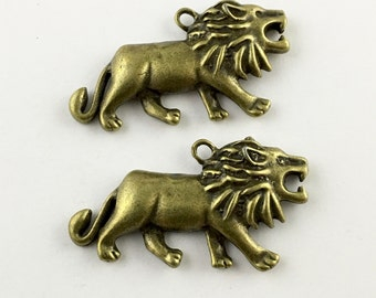 2 lion charms 24mm to 45mm #CH 465