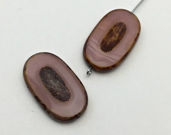 2 Czech Picasso glass beads  pink carved ,16mm x 26mm, #PV 067
