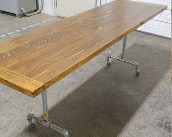Industrial Desk Dining Table Galvanized Casters Wheeled Rolling