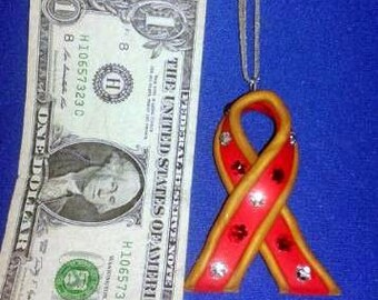 OOAK Hand Made AIDS Awareness Ribbon Christmas Ornament 02