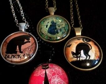 The Cat Cabochon collection Sophisticat/scarediecat/pentagramcat/blackcat