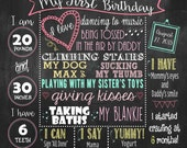 Wild Flowers First Birthday Chalkboard Poster DIGITAL FILE
