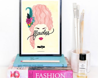 Flawless Marie Antoinette Poster, Calligraphy Print, Minimalist Illustration, Music Poster, Typography Art Print, Queen B Gift for Her