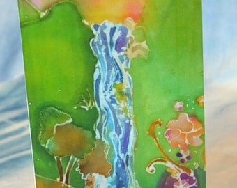 Blank Greeting Card with Original Batik Artwork Waterfall Print