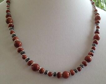 Goldstone, Hematite, Sterling Silver Necklace (N13)