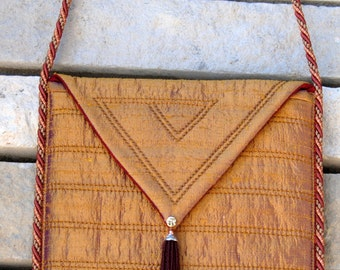 Gold Silk Shantung evening purse
