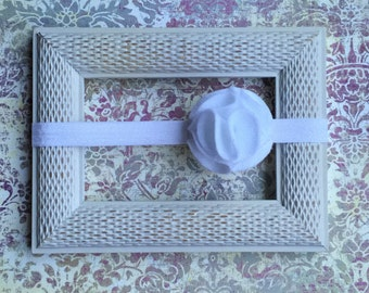 Infant toddler White felt flower elastic baby headband