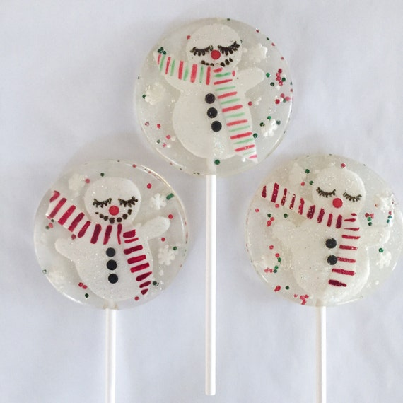 3 Peppermint Marshmallow Sparkly Happy Snowmen Lollipops