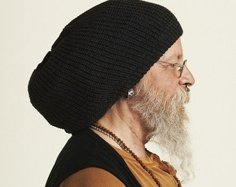 Slouchy beanie hat in black M (MD-1000)