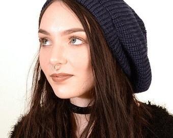 Slouchy beanie hat in dark blue M (MD-1011)