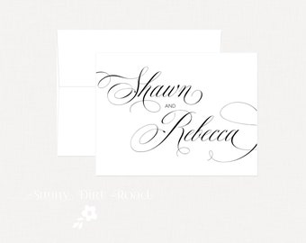 Personalized Wedding Thank You Cards - Set of 25, Typography Wedding Thank You Cards
