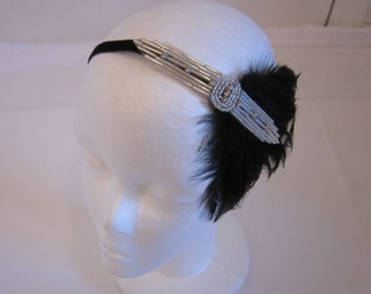 1920s headband, black feather headpiece, rhinestone headpiece, great gatsby dress fascinator, Art Deco beaded headband, flapper dress 20s