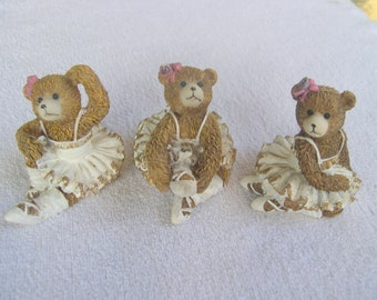 cute set of THREE Ballerina Bears