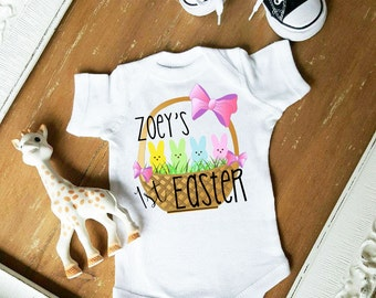Baby's First Easter Basket and Bows Peeps My First Easter CUSTOMIZE NAME and Font Color Bodysuit