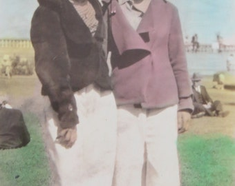 Hand Tinted 1930's Girlfriends Forever Standing On The Beach Snapshot Photograph - Free Shipping