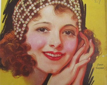 Original November 1929 Janet Gaynor Photoplay Magazine Cover By Earl Christy - Hollywood's Golden Age - Free Shipping