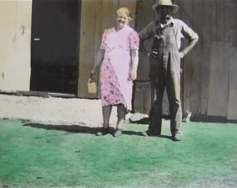 American Gothic - Cute 1939 Hand Tinted Farmer And His Wife Snapshot Photo - Free Shipping