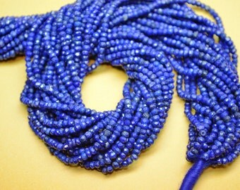 AAA 13 Inch 3mm Natural Untreated Lapis Lazuli Faceted Rondelle Beads/Lapis Lazuli Rondelles(0084-85)