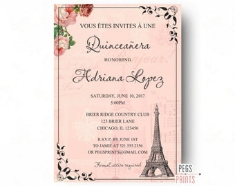 Printable Quinceanera Invitation Quinceanera Invites