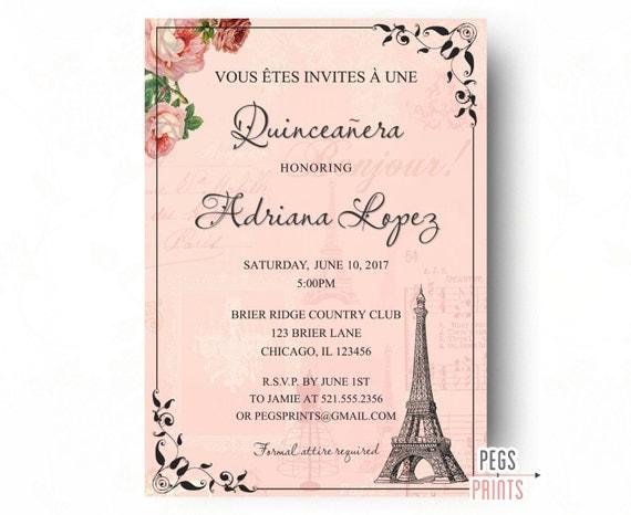 Paris quinceanera invitation quinceanera invitation like this item solutioingenieria Choice Image