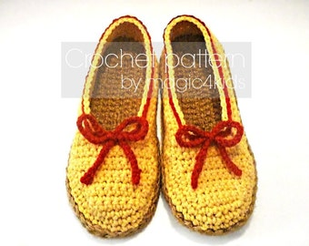 Crochet pattern: women slippers with rope soles,5 sizes,soles pattern included,loafers,ballerina,shoes,cord,twine,adult,girl,shoemaking