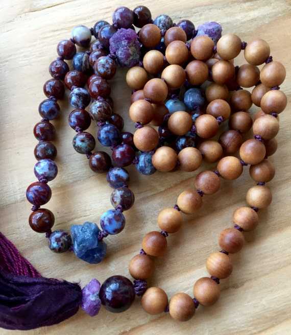108 Mala Beads Sandalwood Raw Tanzanite Raw Ruby Red Lightning Agate Garnet Silk Sari Tassel Necklace Chakra Mala Meditation Beads