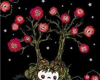 Skelly Art Print: Skelly Tree & Roses