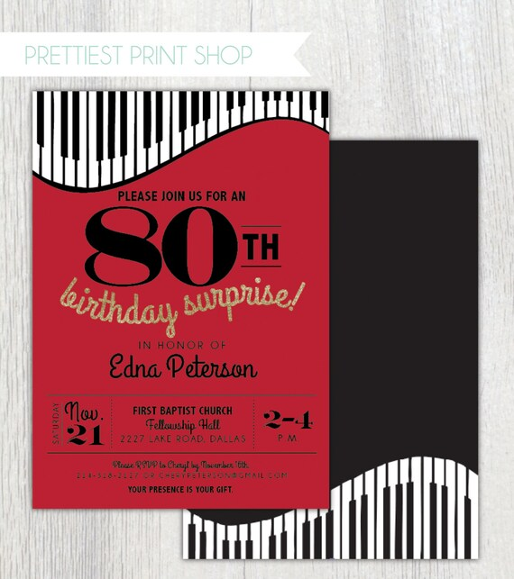 printable piano birthday party invitation music invitation surprise party 80th birthday. Black Bedroom Furniture Sets. Home Design Ideas