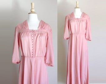 1940s Dusty Pink Dress | Hostess Dress | Lounge Dress | Medium