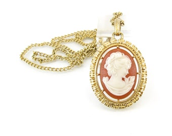 Vintage Cameo Necklace, Lucite, Lady Profile, Reversible, Gold Tone