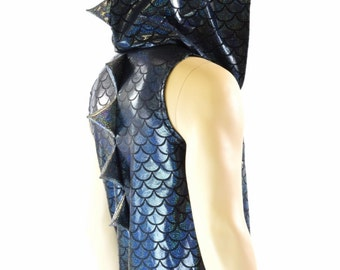 Mens Black Dragon Sleeveless Hoodie with Silver Holographic Spikes & Hoodliner Rave Festival Burning Man -151659