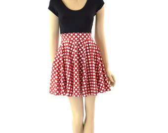 Red & White Polka Dot Cap Sleeve Skater Minnie Dress with Black Bodice 152315