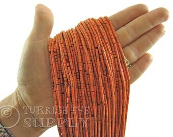 Afghan Beads 2mm Light Coral Orange Matrix Heishi Bead Strands Howlite Seed Beads One 1 Full Strand Semiprecious Gemstone Beads Loose Beads