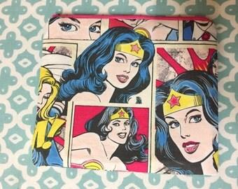 Comic Book style Wonder Woman zip/cosmetic bag.