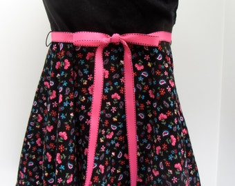 Black cordoury dress with flowered skirt
