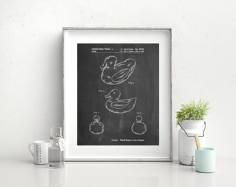Rubber Ducky Patent Poster,Retro Toys, Play Room Art, Duck Nursery, Bathroom Wall Art, Bath Toys, PP1021