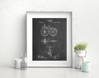 First Bicycle 1866 Patent Poster, Bicycle Wall Art, Apartment Decor, Hipster Art, Vintage Bicycle, PP0077