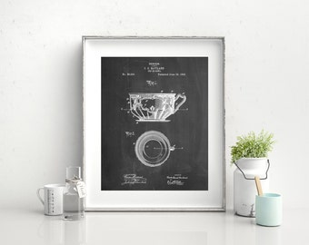 C. E. Haviland Tea Cup and Saucer Patent Poster, Fine China, France Limoges, Dining Room Wall Decor, Bed and Breakfast, PP0670