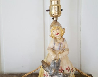 Mid Century Dutch Girl With Goose Vintage Chalkware Lamp Cottage Chippy Chic
