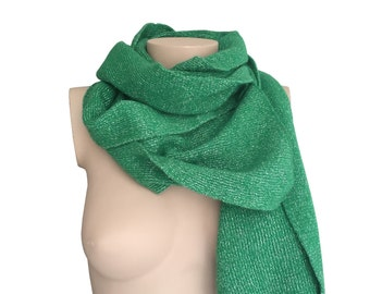 Kelly Green 70s Vintage Glitter Scarf