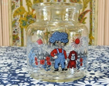 Country boy with newsboy cap and dog clear glass storage jar - French 70s vintage